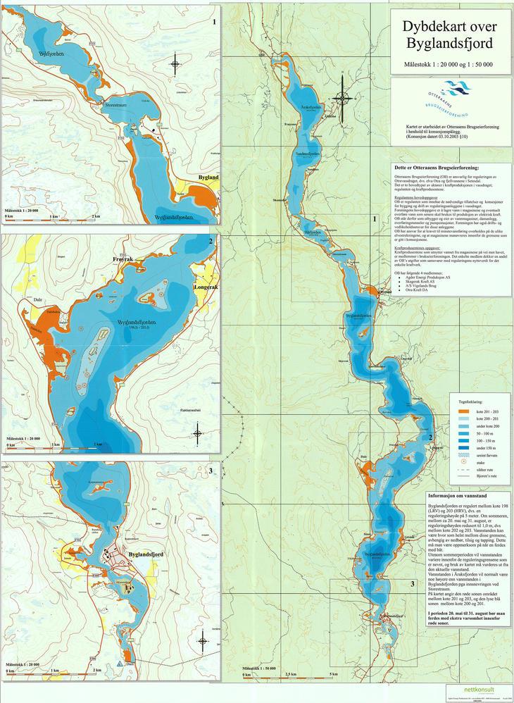 Djupnekart over Byglandsfjorden